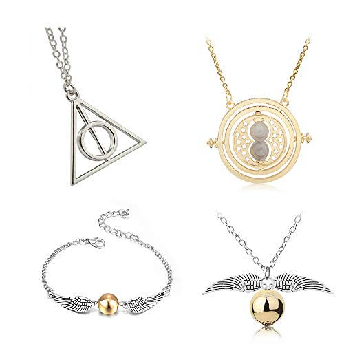 4 Piece Harry Potter Inspired Necklace Set Time Turner Deathly Hallows Golden Snitch for Harry Potter Fans Gifts or Decorations (Necklaces)
