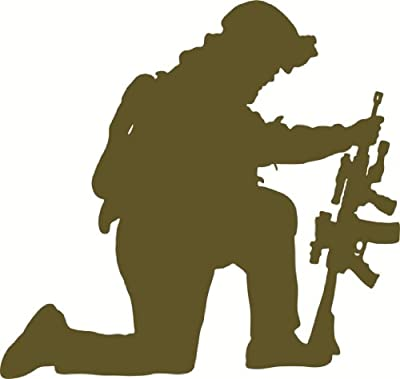 Army Navy Marines Military Soldier Kneeling Support Our Troops Praying Soldier Picture Art – DISCOUNTED SALE Sticker - Vinyl Wall Decal Size : 17 Inches X 17 Inches - 22 Colors Available