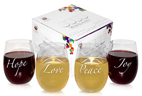 Joy Glass ( STEMLESS PLASTIC WINE GLASSES. BPA-Free. Dishwasher-Safe. 100% Tritan. Unbreakable. 16oz. Set of 4. Beverage and Wine Glasses with Sayings - Love, Joy, Peace and Hope. Gift Box)