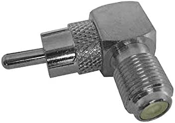 RCA Male to F Female Right Angle Adapter Coaxial Connector Plug to 90 Degree Silver Connector 1 Pack Stereo Cable Connector Audio Video Tool Less Hook-Up Connector