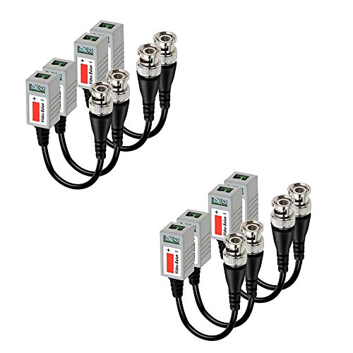 (BNC Video Balun Transceiver Cable,Sageme Passive HD CVI/AHD/TVI Signal Transceivers 720P/1080P Single Channel for BNC Male Cable via CAT5/5E/6 Twisted Pair Transmitter for CCTV (4 Pairs /8 PCS))