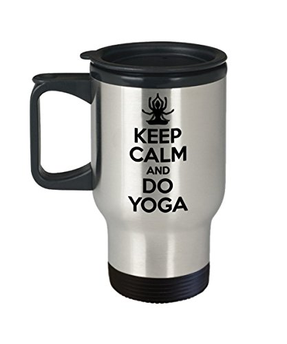 Funny Yoga Gifts - Keep Calm And Yoga - Yogi - Meditation - Stainless Steel Material Travel Mugs 14 oz sizes - I Love Yoga Travel Coffee Mug by OCShopGifts