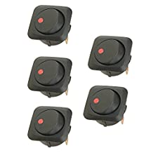 Etopars 5 X 25mm Car Vehicle Boat Truck Round Rocker Toggle Switch Red LED Light On-off SPST Control 12V 25A