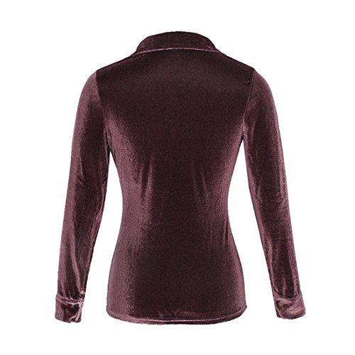 Brown T Shirts Womens Shirt Long Summer Womens Womens Tops Blouses Velvet Moonuy Sleeve Long Girl Sleeve Tops Womens Tops Turn Shirt Collar Ladies Tops Womens T Women Blouse Dowm Shirts HCnBCR