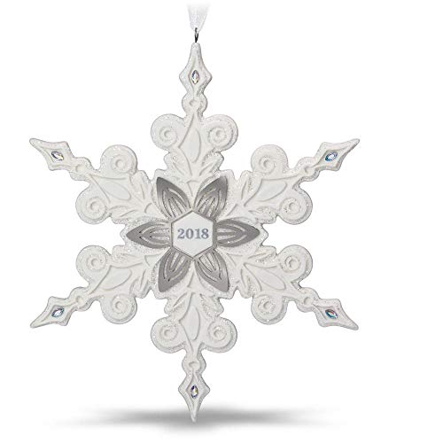 Hallmark Keepsake Christmas Ornament 2018 Year Dated, Snowflake, Porcelain ()