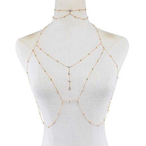 Bohemian Sexy Simple Rhinestone Choker Necklace with Bra Chest Long Body Chain Pendant Statement Simple Beads for Beach Bikini Accessories (Rhinestone Choker Belly Chain)