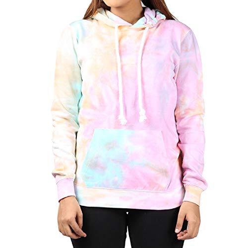 Boys Long Sleeve Tie Dye - Kara Hub Tie Dye Hoodie Pastel Tie-Dye Hoodies Long Sleeve Pullover Hooded Sweatshirt (Small, Pink Apricot Thick Drawcord)