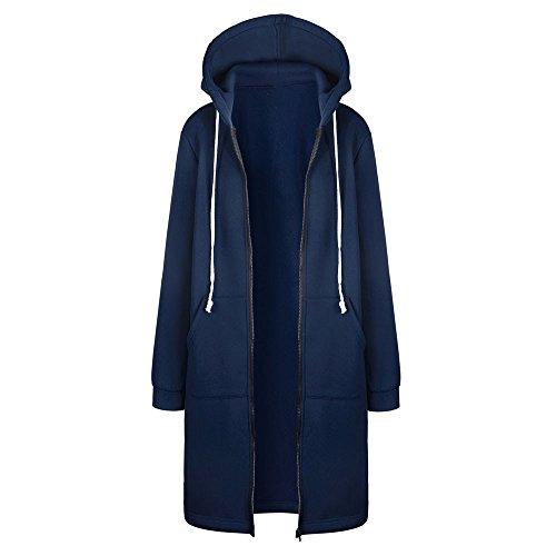 Sweatshirt Hoodies Coat Warm Blue Zipper Women Outwear Open Jacket Tops Long KIMODO 1pqF7