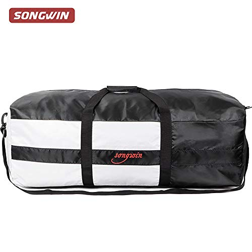 79L Large Travel Duffel Bag,Foldable Luggage Weekend Bag With Adjustable Strap For Men Women.(Black & Gray)