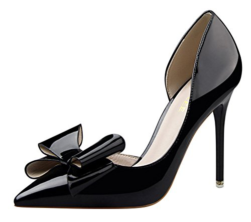 T&Mates Womens Cute Pointed Toe Bowtie Stiletto High Heel Patent D'Orsay Dress Pumps Shoes (8 B(M) - Tie Black Wiki