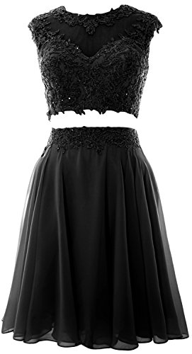 Vintage 2 Dress Gown Lace Homecoming Women Wedding Party Piece Schwarz Prom MACloth 47qaFRw