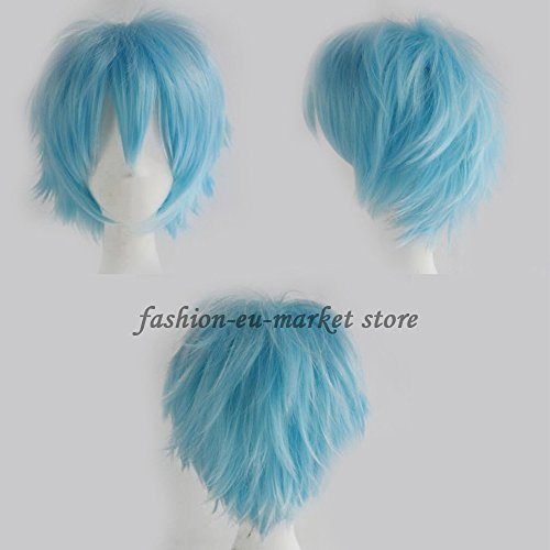 Inside Man Costume (Anime Cosplay Unisex Short Full Wigs Heat Resistant Synthetic Wigs Japanese Kanekalon Fiber 20 Colors With Free Wig Cap (light blue))
