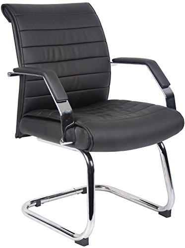 Boss Office Products B9449 Ribbed Guest Chair in Black