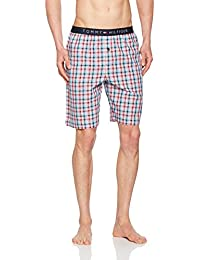Mens Summer Check Woven Lounge Shorts, Red/White/Blue