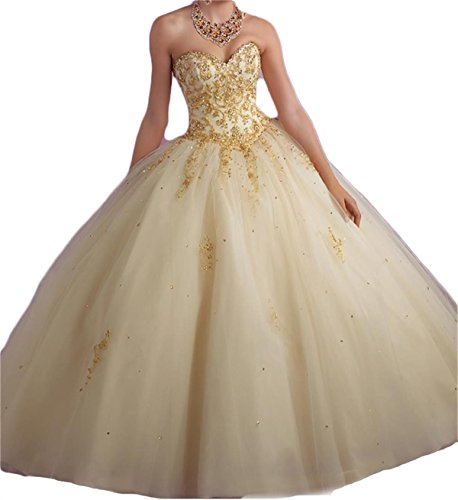 XIA Women's Sweetheart Gold Embroidery Long Quinceanera Dresses Prom Ball Gown with Jacket Beaded 53 Champagne 4