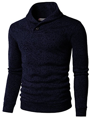 H2H Mens Knited Slim Fit Pullover Sweater Shawl Collar with One Button Point Navy US S/Asia M -