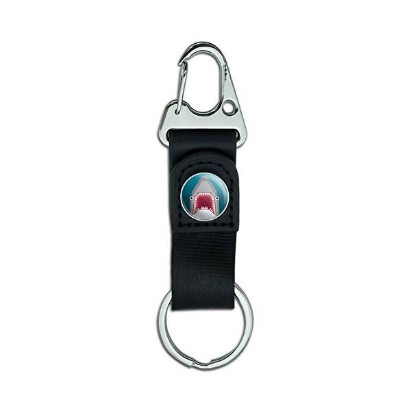 Belt Clip On Carabiner Leather Keychain Fabric Key Ring Geometric Animals - Geometric Badger Black And White Honey -