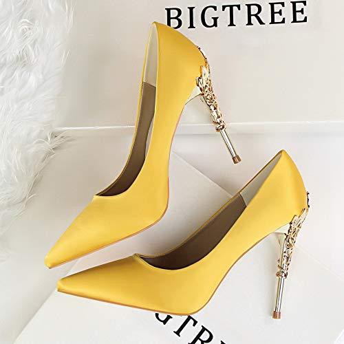 Yellow Shoes 39 Stiletto Heels Fresh Wild Goddess Early heels High Pointed Princess Small Shoes Autumn Dress Yukun Yellow Women'S High Women'S Single Cq7wHqRx