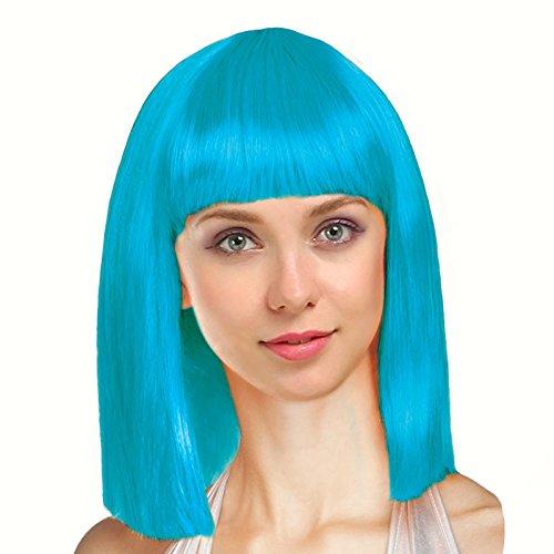 Peluca Azul Turquesa Lisa Media Melena