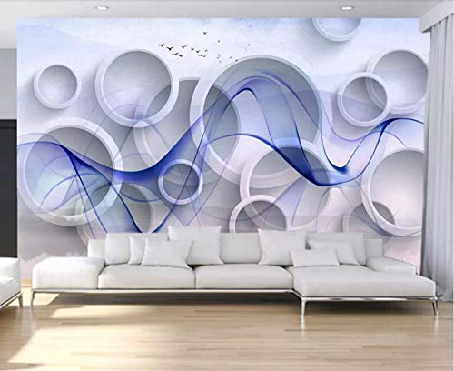 (Wall Mural 3D Wallpaper Ring Wave Curve Modern Wall Paper for Living Room Bedroom Tv Wall Decor)