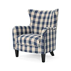 Farmhouse Accent Chairs Christopher Knight Home Oliver Farmhouse Armchair, Checkerboard, Blue Floral farmhouse accent chairs