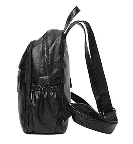 L'eau à Imperméable ZHXUANXUAN Mini Sac Rucksack Mode à Casual Femelle Black PU École Dos qxUwgS