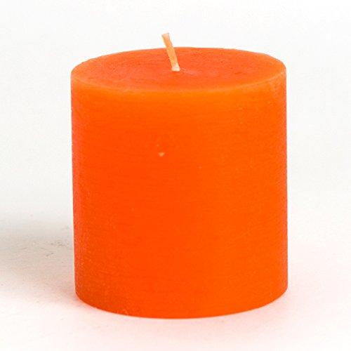 "[Set of 3] 3"" x 3"" Pillar Candle, Orange Unscented Handpo..."