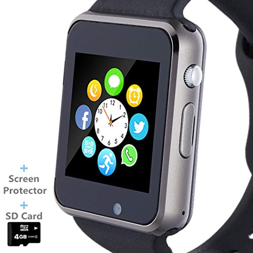 Smart Watch, Smartwatch Phone with SD Card Camera Pedometer Text Call Notification SIM Card Slot Music Player Compatible for Android Samsung Huawei and iPhone (Partial Functions) for Men Women Teens (Phone Watch Gsm)