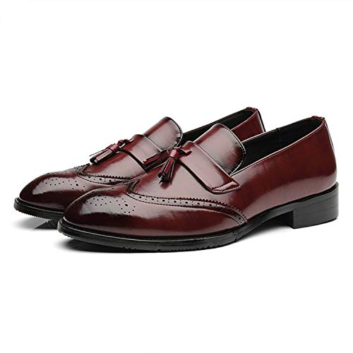 Jade clear Men Leather Loafers Mans Footwear Formal Shoes Casual Bullock Shoes,Wine Red Loafers,6.5