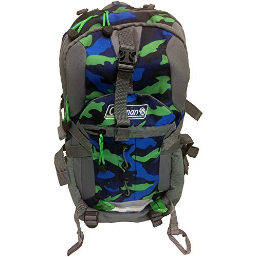 Coleman Kid's Hiking Backpack w/Hydration Compartment & Bladder in Grey Camo 17 in X 9.75 in X 6.25 in (Kids Coleman Belt)