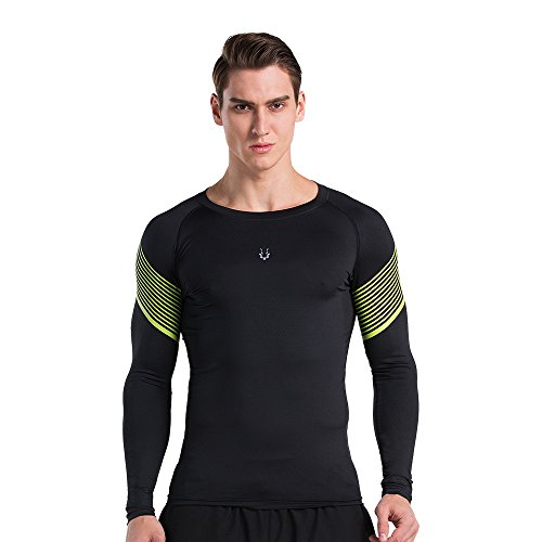 Men's Compression Running Base Layer Tights Shirt Workout Long Sleeve Breathable Sportswear (X-Large, BlakcYellow) price