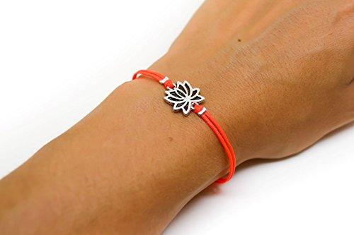 (Lotus bracelet, cord bracelet with silver lotus charm, buddhist symbol, bright peach cord, zen, flower, yoga bracelet, spiritual jewelry)