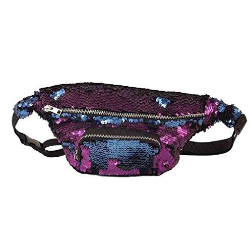 QUICKLYLY Casual de Pecho Bolsos Paquete Lentejuelas Doble Mujer Unisexo Deportes Color Bolso Prpura Al aire Cintura libre de xx17aw0