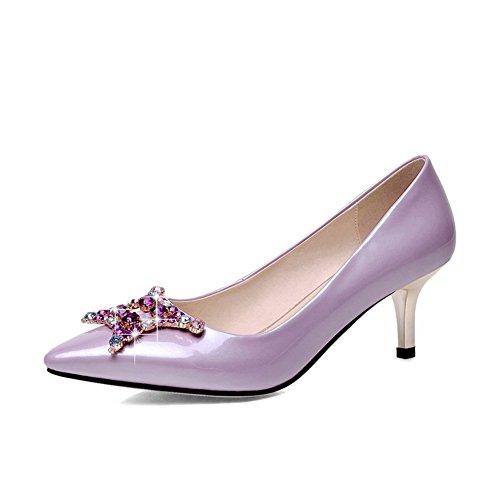 BalaMasa Womens Electroplate Heel Studded Rhinestones Metal Buckles Imitated Leather Pumps-Shoes Lightpurple T2W2jWE3xW