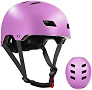 Skateboard Bike Helmet for Kids Youth & Adults with Two Removable Liners for Multi-Sport Scooter Roller Sk