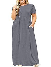 Womens Plus Size Dresses Loose Plain Pockets Long Sleeve...