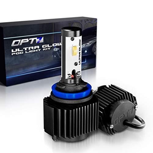 OPT7 H11 (H8 H9 H16) Ultra Glow LED Fog Light Bulbs - 6000K Lighting White @ 1,400 Lm per Bulb - Free Warranty (Pack of 2)]()