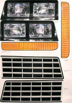 Bryke Racing Headlight Decal kit for 1983-1988 Monte Carlo Nose Piece Head Light Decals UMP