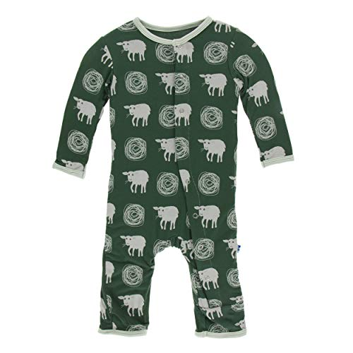 Kickee Pants Little Boys Print Coverall with Snaps - Topiary Tuscan Sheep, 9-12 Months