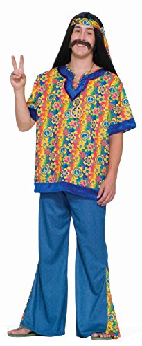 Mens 60s Costumes (Forum Novelties Men's 60's Revolution Hippie Far Out Man Costume, Multi, Standard)