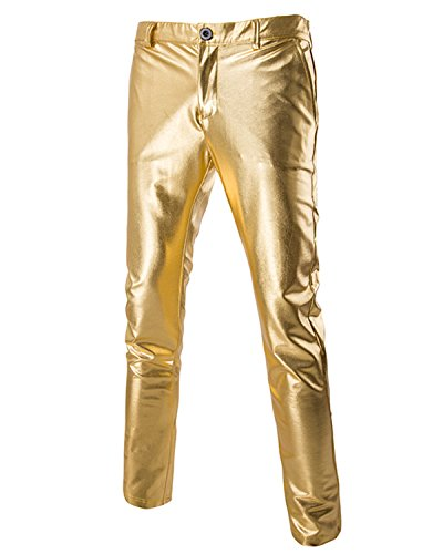 Anlydia Men's Rave Rocker Shiny Skinny Metallic Slim Fit Pants Long Trousers Night Clubwear, Gold XL