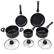 MasterPanel - 8 Piece Non Stick Cookware Set Aluminum Soft Handle Kitchen Cooking Black #TP3345
