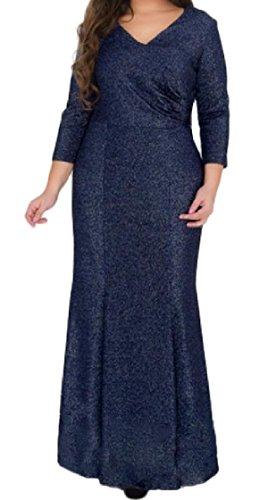 Coolred-femmes Couleur Unie Plissée Sexy Col V Taille Plus Manches 3/4 Robe Pleine Longueur Bleu Foncé