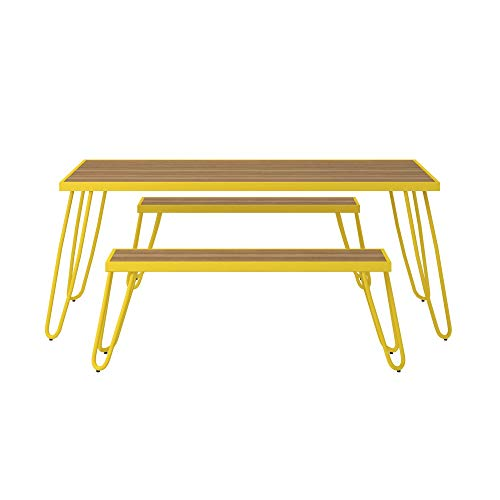 - Novogratz 88192YNOE Poolside Paulette Outdoor Table and Bench Set, Yellow