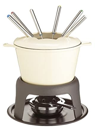 Kitchen Craft Emailliertes Fondue-Set aus Gusseisen mit 6 Gabeln, cremefarben