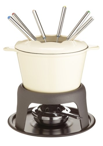 Kitchen Craft Master Class Cast Iron Enamelled Beige Fondue Set