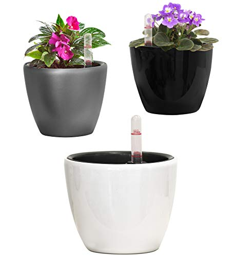 TABOR TOOLS 4.5 Mini Self-Watering Planter for Indoor, Home and Office. Modern Pot Suitable for Small House Plants, Flowers, and Herbs. TB401A - White Gloss.