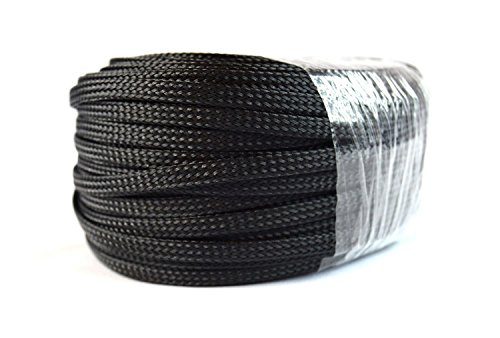 """Braided Expandable Loom 1/4"""" 100FT Black Wire Harness Cover Sheathing Sleeving"""