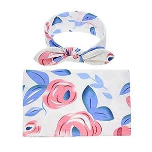 Bigbuyu Newborn Baby Girls Swaddling Receiving Blanket and Headband Set Baby Shower Newborn Gift