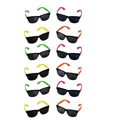 Kids Plastic Neon Sunglasses - 12 Neon Color Toy Sunglasses by Funny Party Hats (Cheap Kids)